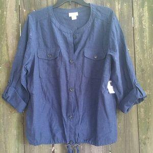 Liz Claiborne Indigo Blue Linen Top Size XL